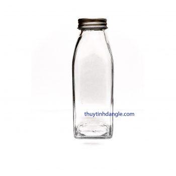 chai thủy tinh vuông 350ml nắp nhôm